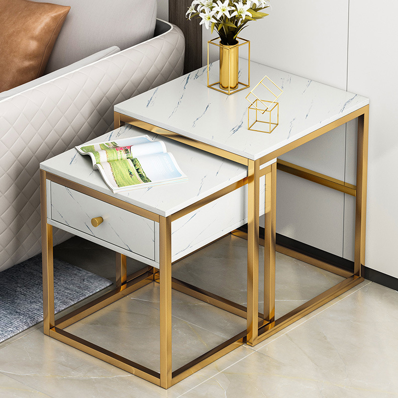 Expandable Wood Coffee Table Nordic Marble Pattern Tea Table Set Drawer Bedroom Nightstand Small End Table Living Room Furniture