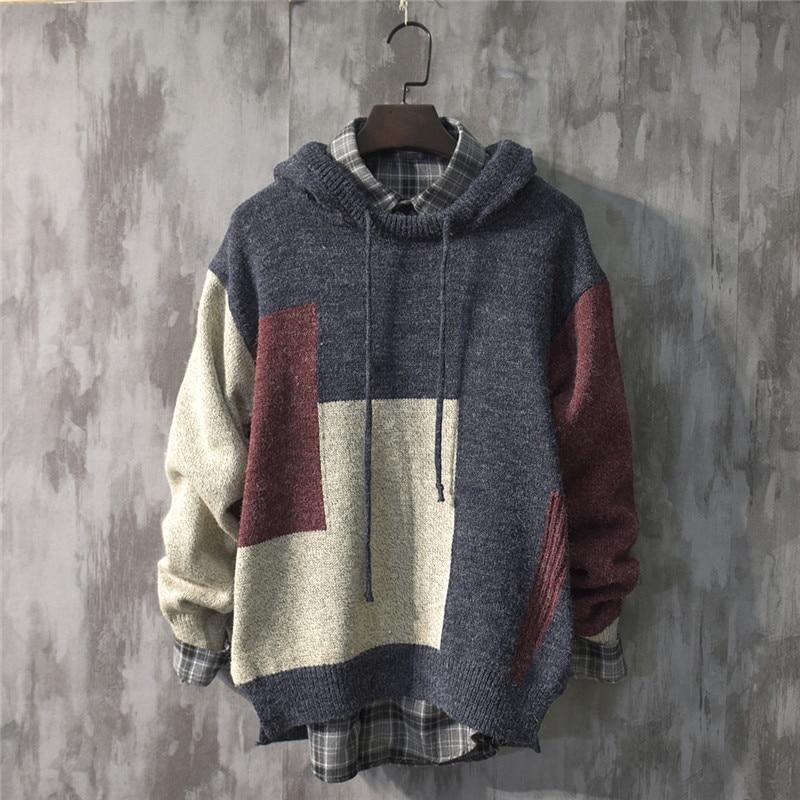 Japan Style Sweatshirts Mens Casual Patchwork Long Sleeve Knitted Pullover Hoodies Top Streetwear Knitwear Мужской свитер