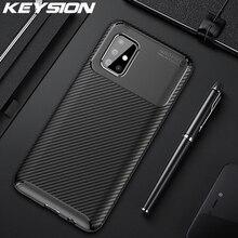 KEYSION Shockproof Case for Samsung Galaxy A51 A71 A01 A11 A21 A41 A81 A91 Carbon Fiber Phone Cover For Samsung M31 M30S M20 M10