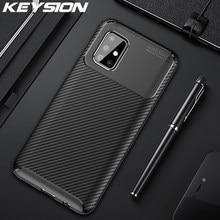 KEYSION, odporna na wstrząsy etui do Samsung Galaxy A51 A71 A01 A11 A21 A41 A81 A91 na telefon z włókna węglowego pokrywa dla Samsung M31 M30S M20 M10