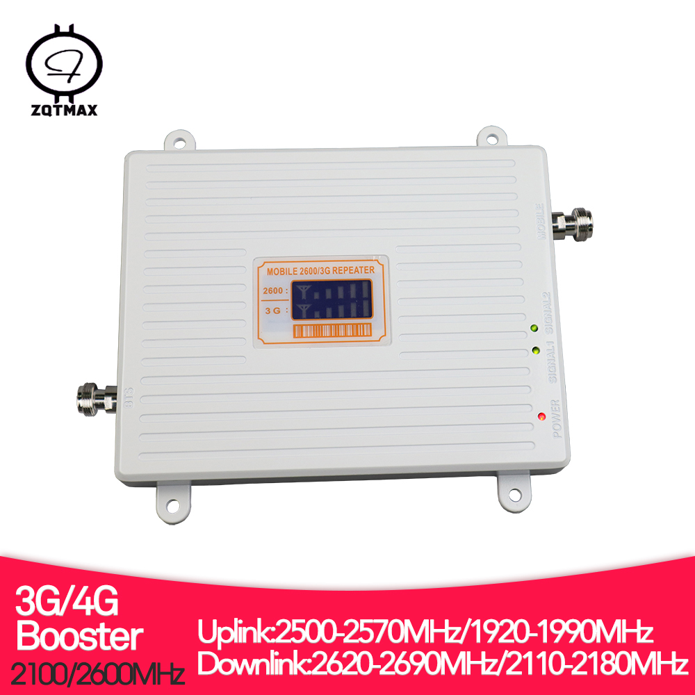 ZQTMAX 3g 4g Repeater 2600 MHz Lte Cellular Signal Amplifier , 2100 UMTS Internet , Dual Band B1 B7