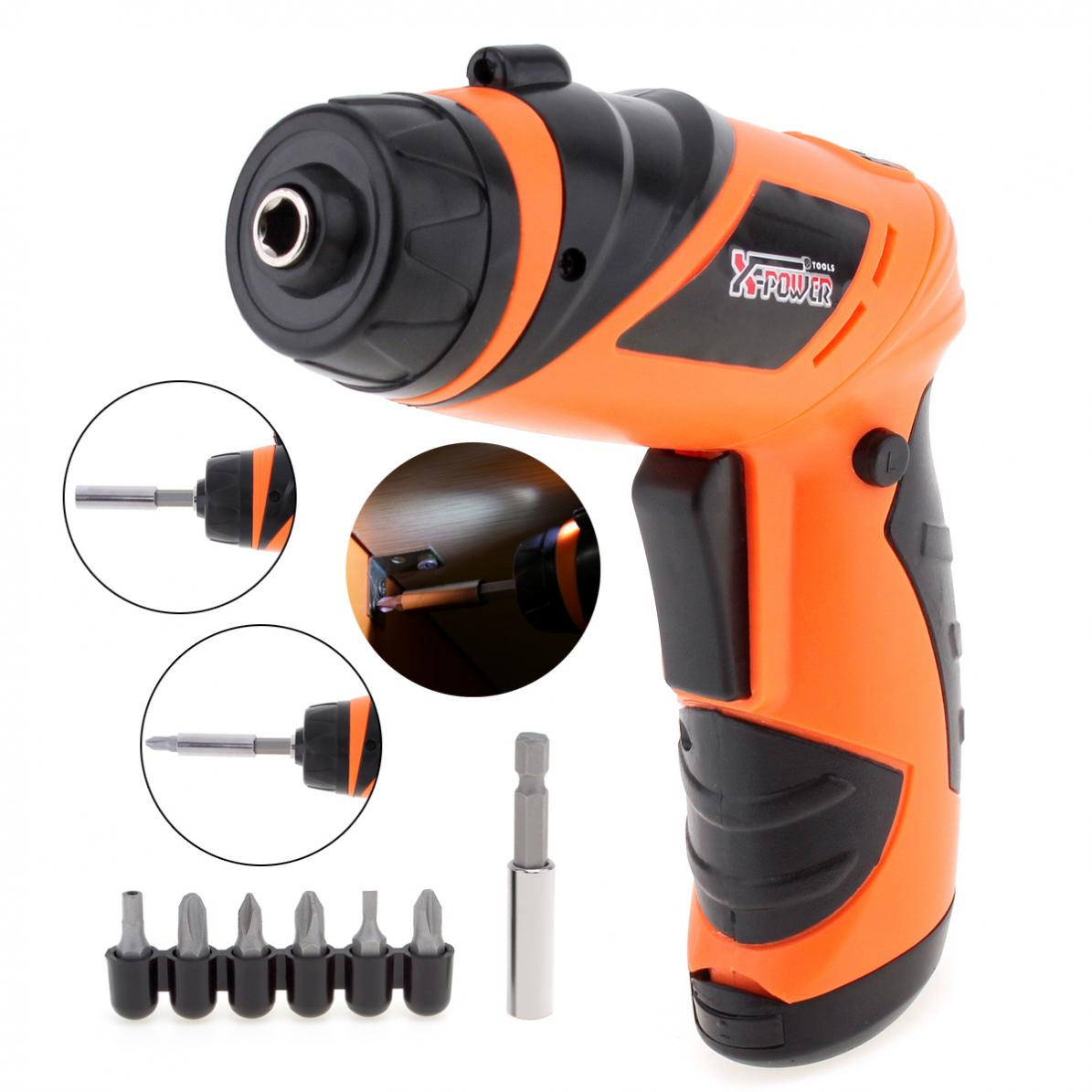 Cordless Electric Screwdriver Household Multi Function Drill/Driver Power Gun Tools LED Light By 6V Lithium-Ion