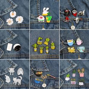 2~6pcs/set Cartoon Enamel Pins Collection Cactus Plant Skull Skeleton Custom Brooch Mini Cup Rabbit Lapel Pin Badge Punk Jewelry