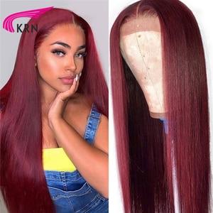Image 1 - KRN 99J Ombre Pre 뽑은 13x4 레이스 정면 인간의 머리카락과 가발 베이비 헤어 스트레이트 레미 헤어 브라질 레이스 가발 180 밀도