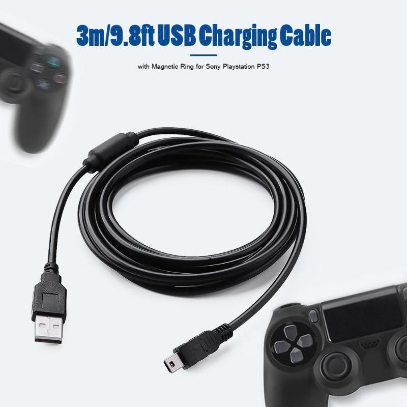 3m Fio Cabo cabo de Carga USB com Anel Magnético USB Prático de Segurança Estável e Durabilidade para Sony PS3 Controlador Sem Fio|Cabos|   -