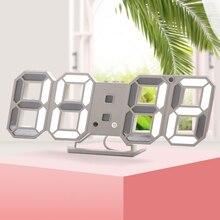 ساعة حائط رقمية ثلاثية الأبعاد LED ساعة تنبيه مكتب إلكتروني ساعات مكتب مع درجة حرارة كبيرة عرض 12/24 ساعة