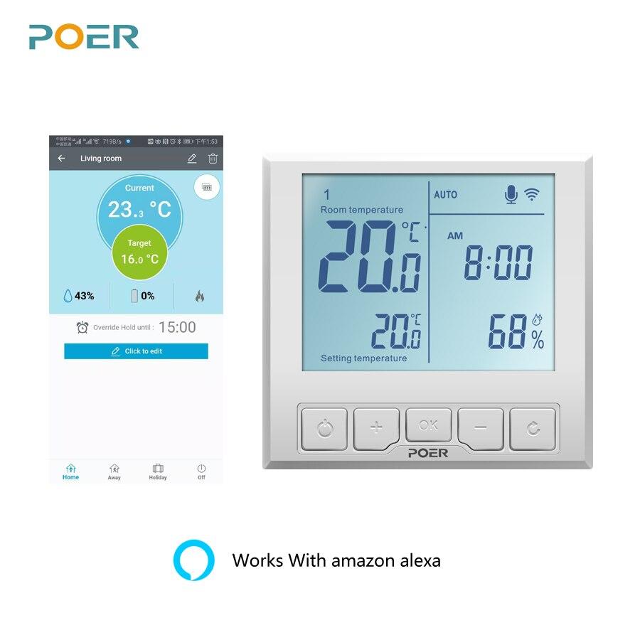 WiFi Smart Thermostat Temperatur Controller für gas kessel elektrische fußbodenheizung feuchtigkeit display arbeitet mit Alexa