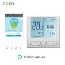 Termostato inteligente WiFi, controlador de temperatura para caldera de Gas, calefacción por suelo radiante eléctrico, pantalla de humedad, funciona con Alexa