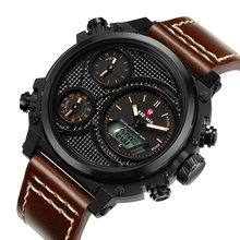 KADEMAN Mens Multi-function Relogio Masculino Sports Watch Double Display Large Dial Leathre Strap Men Quartz Reloj