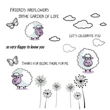 ZhuoAng Purple lamb and dandelion Clear Stamps/Card Making Holiday decorations For  scrapbooking Transparent stamps 13*13cm