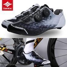 Santic-zapatos de ciclismo para hombre, calzado transpirable antideslizante con doble hebilla de rotación, con suela de fibra de carbono, talla asiática