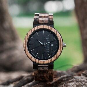 Image 4 - Relogio masculino בובו ציפור עץ שעון גברים erkek kol saati תצוגת שבוע תאריך יפן קוורץ גברים שעונים מקבלים לוגו Drop חינם