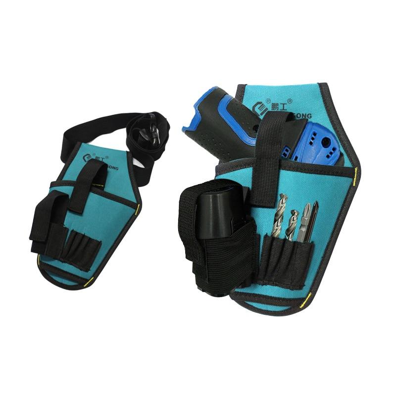Portable Drill Tool Bag 600D Nylon Fabric Tool Bag Screwdriver Kit Holde Electrician Waist Pocket Tool Belt Bag Drill Waist Bag