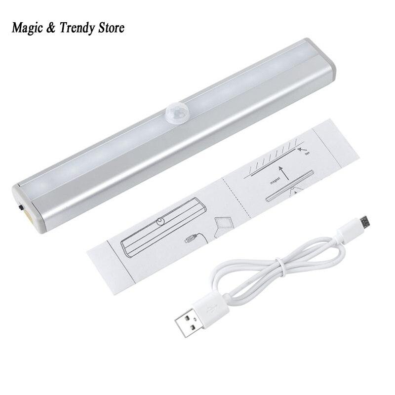 10 LED IR Infrared Motion Sensor Lighting Detector Wireless Closet Night USB Battery Recharging Lamp Cabinet Wardrobe Light
