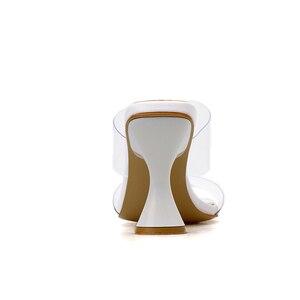 Image 4 - Kcenid 2020 femmes pantoufles sandales tasse haut talon transparent bande slingback bout carré décontracté mode été pantoufles taille 35 42