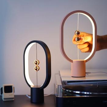 USB akumulator Mini HENGPRO Balance lampa stołowa LED elipsa magnetyczny przełącznik powietrza w połowie pielęgnacja oczu noc światło dotykowy sterowania tanie i dobre opinie brelong ROHS CN (pochodzenie) Łóżko pokój MULTI Dół Klin Drewna Brak Dotykowy włącznik wyłącznik Żarówki led