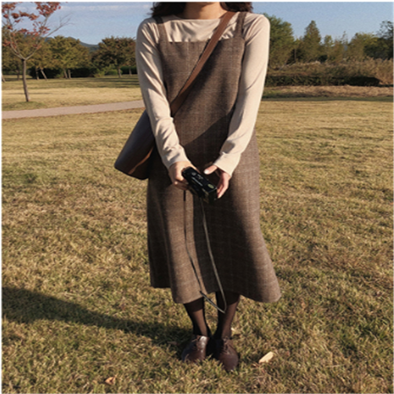 New S XL Spring  Boho Plaid Strap Girls Dress Vintage Suit T-shirt Suits Women Dresses Female Suits Braces Robe Femme Vestido