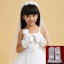 Bow-Gloves Short Flower-Girl Eldiven Satin White Fashion Women Lace Pupils Paragraph
