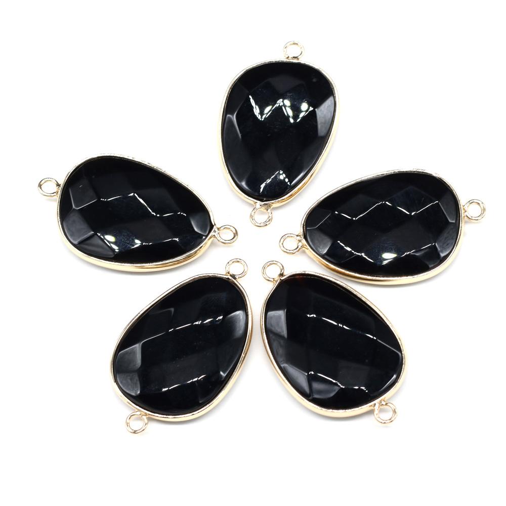 Подвески в форме капли из натурального камня черный оникс Соединитель