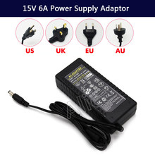 New LED Driver AC 100-240V to DC 15V 6A Power Supply Charger Adapter Transformer 220V 15V 90W Converter with power cord