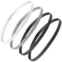 4 peças grosso antiderrapante elástico esporte headbands de cabelo, exercício de cabelo e sweatbands para mulher e homem