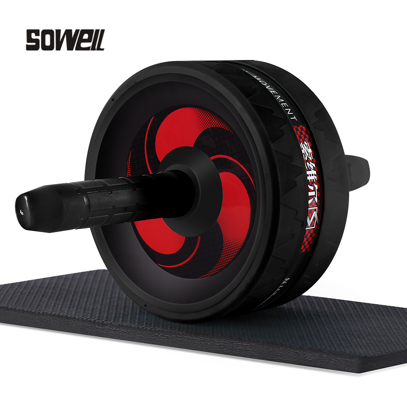 Exercise Ab Rollers Exerciser Fitness Workout Gym Roller Great For Arms, Back, Belly Core Trainer Free Knee Pad