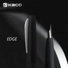 חדש שהושק KACO קצה שחור מוברש מתכת מזרקת עט עם 2 ממירי דיו עט שמידט EF/F/M ציפורן עם אריזת מתנה עבור משרד
