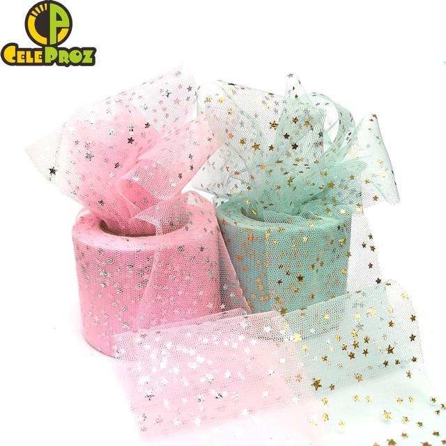 25Yards 6cm Star Tulle Confetti Glitter Mesh Baking Cake Topper Tutu Pom Bow Soft Squine Organza DIY Wedding Birthday Decoration 3