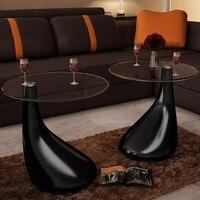 Vidaxl mesa de centro 2 pces com vidro redondo superior alto brilho preto 240323 Mesas de Café     -