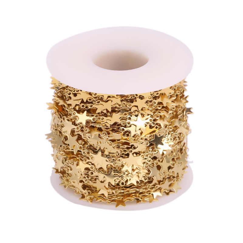 1 Meter Edelstahl Gold Handmade Ton Kreis Stern Runde Dreieck Liebe Kette Halskette Herstellung Von Schmuck Großhandel Viele Schütt