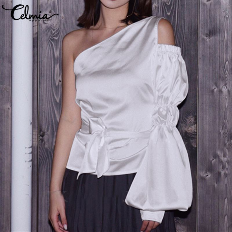 2020 Fashion Celmia Women White Satin Blouses Puff Sleeve One Shoulder Ladies Shirts Casual Belt Sexy Tops Elegant Office Blusas