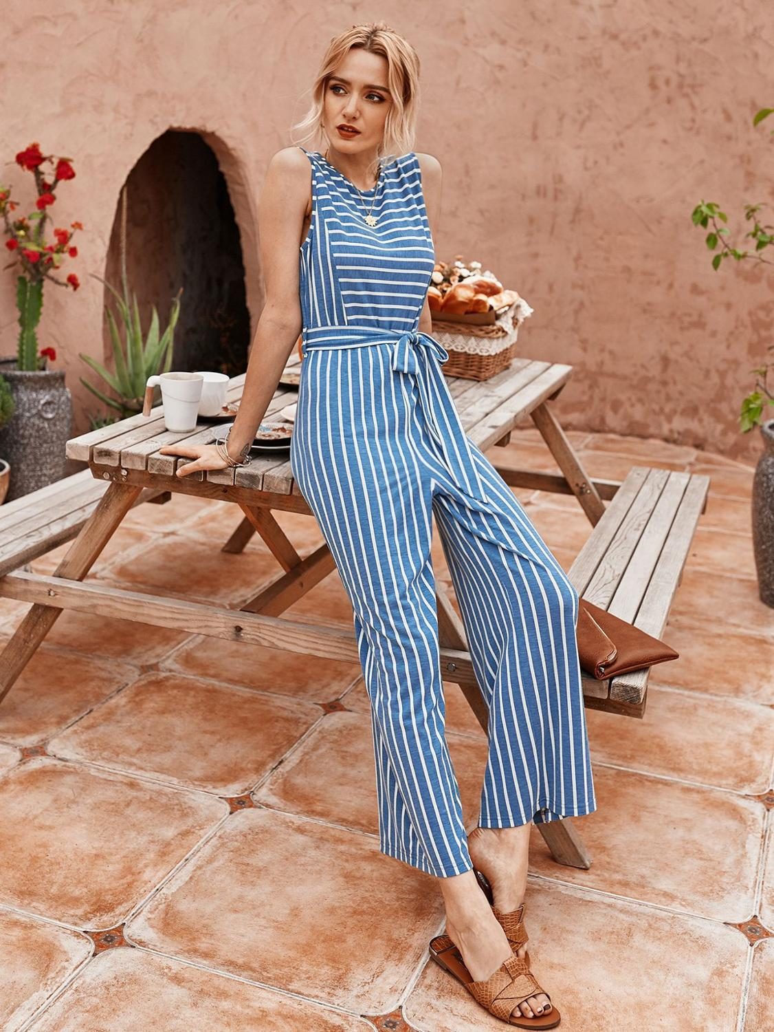Summer Womens Jumpsuit Formal Elegant Trendy Casual Stripe Overalls For Lady Clothing Jump Suit Long Pants Plus Size Suit Boho