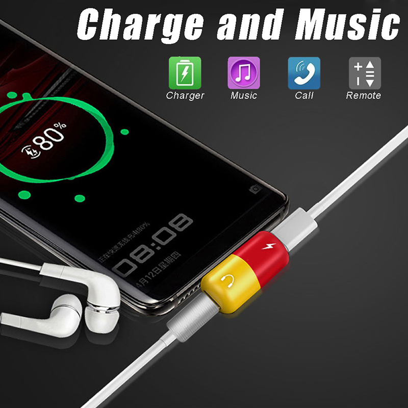 Cute Capsule Shape  2 In 1 Type C Otg Usb C To Type C Adapter Headphone Audio Charge Splitter USB 3.1 Audio Charger Adapter NEW