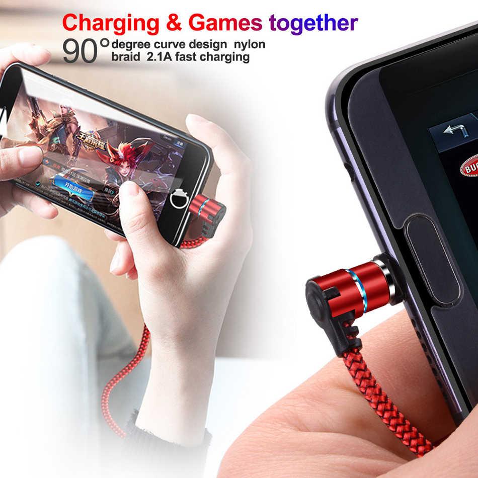 高速充電磁気 90 度タイプ C mi cro の usb ケーブル iphone 7 X XS 最大赤 mi 注 7 mi Huawei 社 P20 Lite プロケーブル
