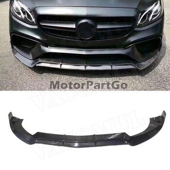 For E Class Carbon Fiber Front Bumper Lip Spoiler for Mercedes Benz W213 E63 AMG S 2017 18-2019 B style not For Original Bumper 1