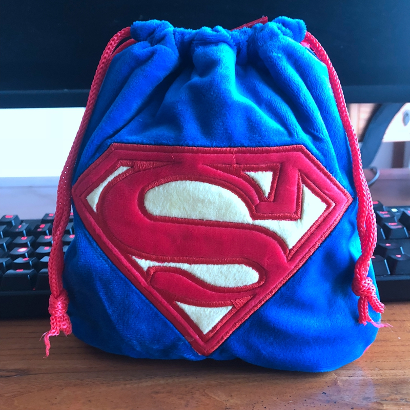 Super Man Drawstring Bags Plush Storage Handbags Makeup Bag Coin Bundle Pocket Purse NEW