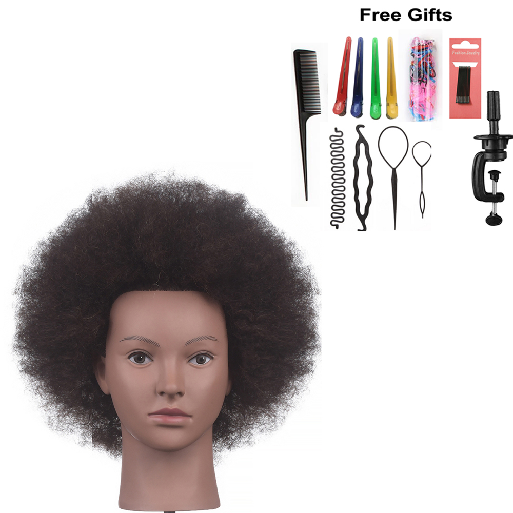 10Inch Afro Training Head Mannequin 100% Human Hair Styling Head Dyeing Cosmetology Manikin Hairdressing Salon Doll Head