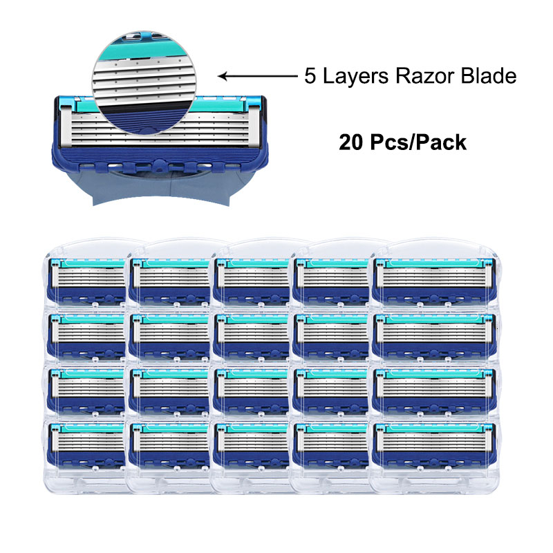 Razor Cassettes For Fusion Replacement Heads 5 Layers Stainless Steel Razor Blades Straight Razor For Men Manual