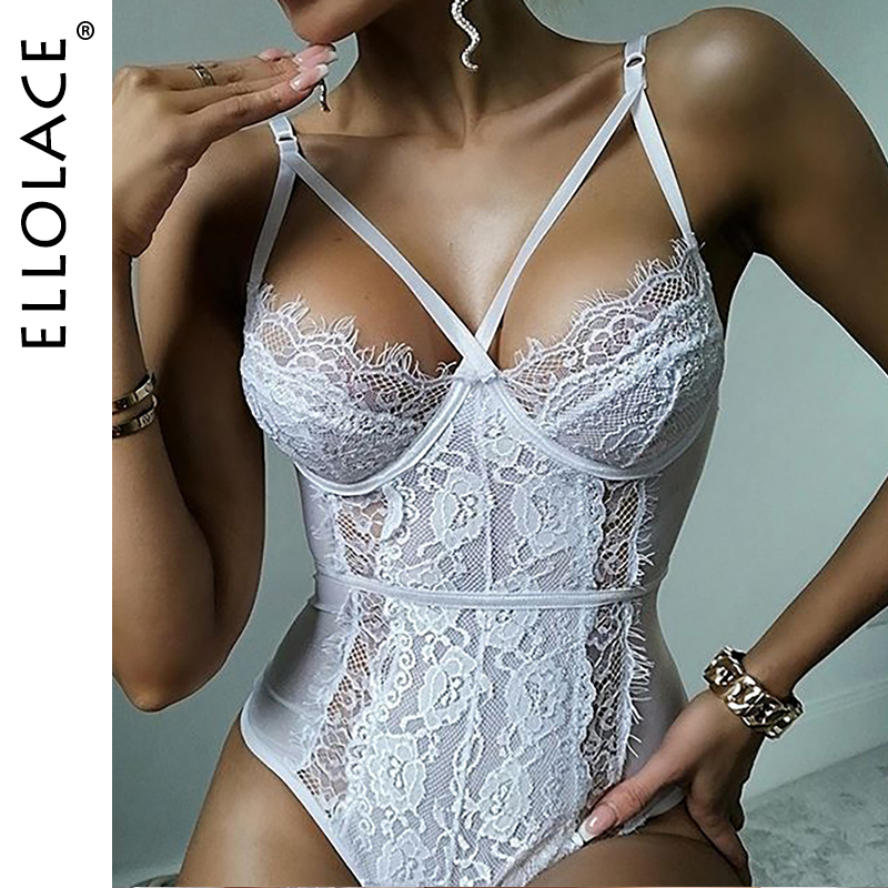 Ellolace Lace Bodysuit Women Sexy Body Push Up Overalls Sleeveless Bodycon Rompers Ladies 2020 Fashion Lace Bodysuits Bodys