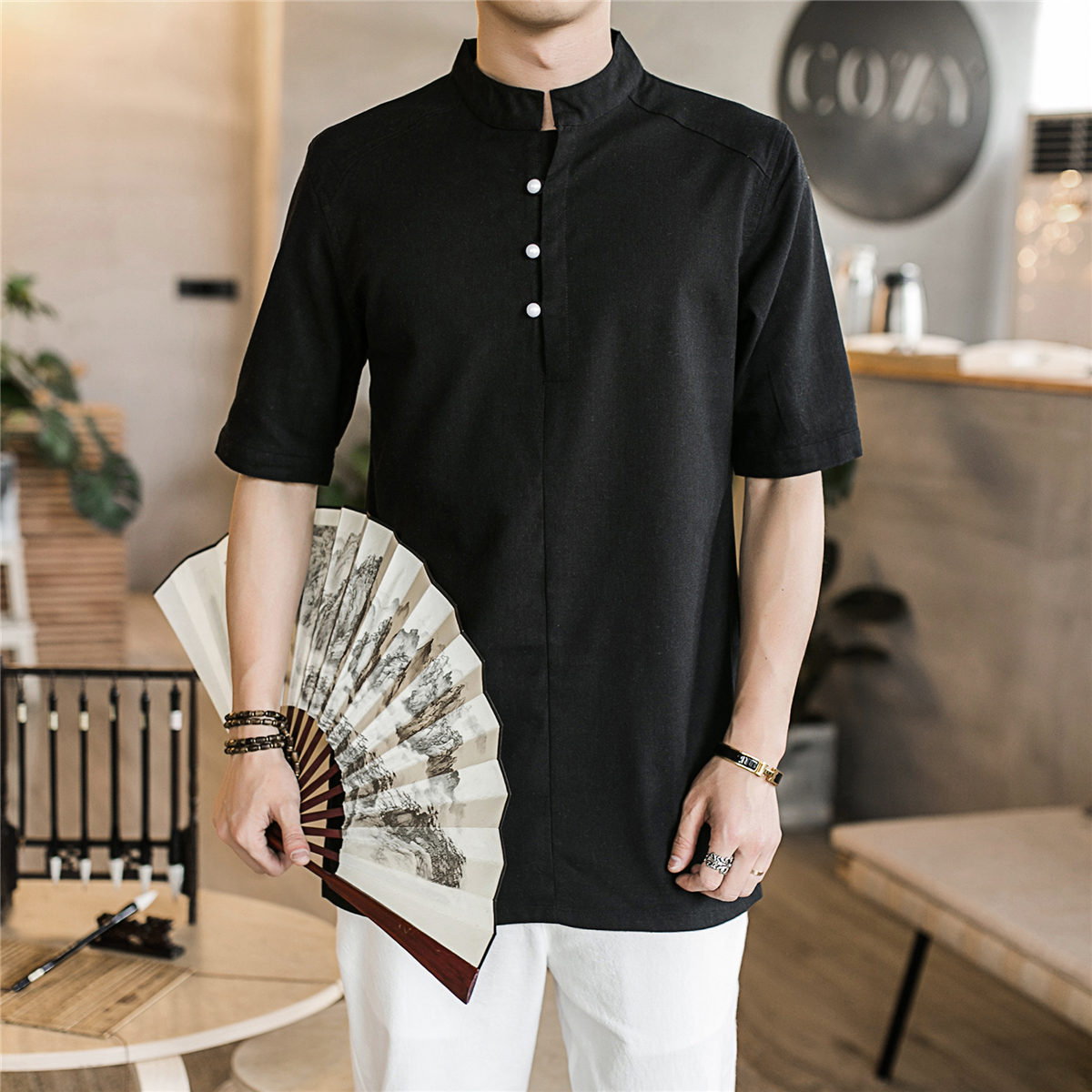Men Solid Harajuku Summer Shirts 2020 Streetwear Linen Shirt Mens Fashions Male Chinese Style Vintage White Blouse Men Clothing
