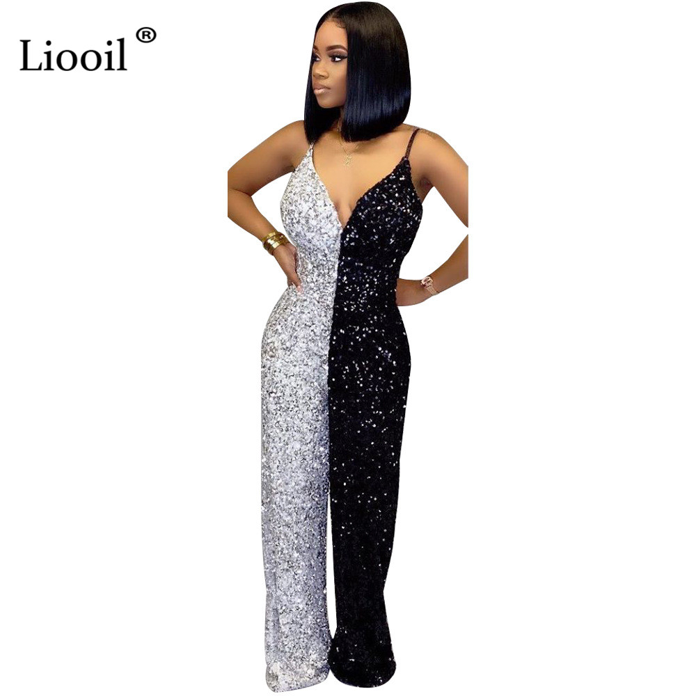 Liooil Black And White Color Block Sequin Sexy One Piece Jumpsuits 2020 Sleeveless V Neck Party Club Rompers Womens Jumpsuit