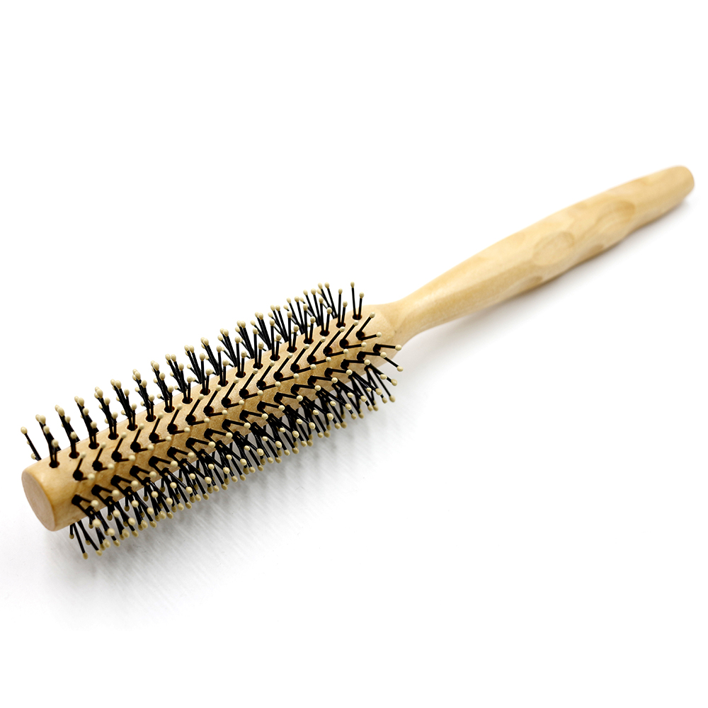 Pro 1 Pcs Wood Round Comb Nylon Teeth Hair Curly Comb Unisex Hairdressing Brush Anti Static Styling Tool Comb For Salon