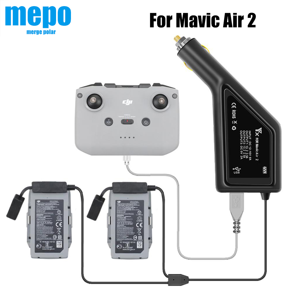 Mavic Air 2 Car Charger For DJI Mavic Air 2 Drone Battery Remote Control Charging Hub USB Charge Port for Two Batteries