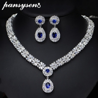 PANSYSEN Luxury Handmade 925 Sterling Silver Necklace/Earrings Jewelry Sets for Women Gemstone Silver Set Valentine's Day Gifts