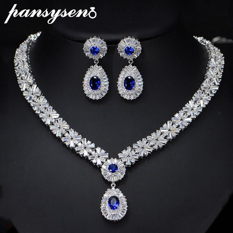 PANSYSEN luxe fait à la main 925 en argent Sterling collier/boucles d'oreilles ensembles de bijoux pour les femmes pierres précieuses ensemble en argent saint valentin cadeaux