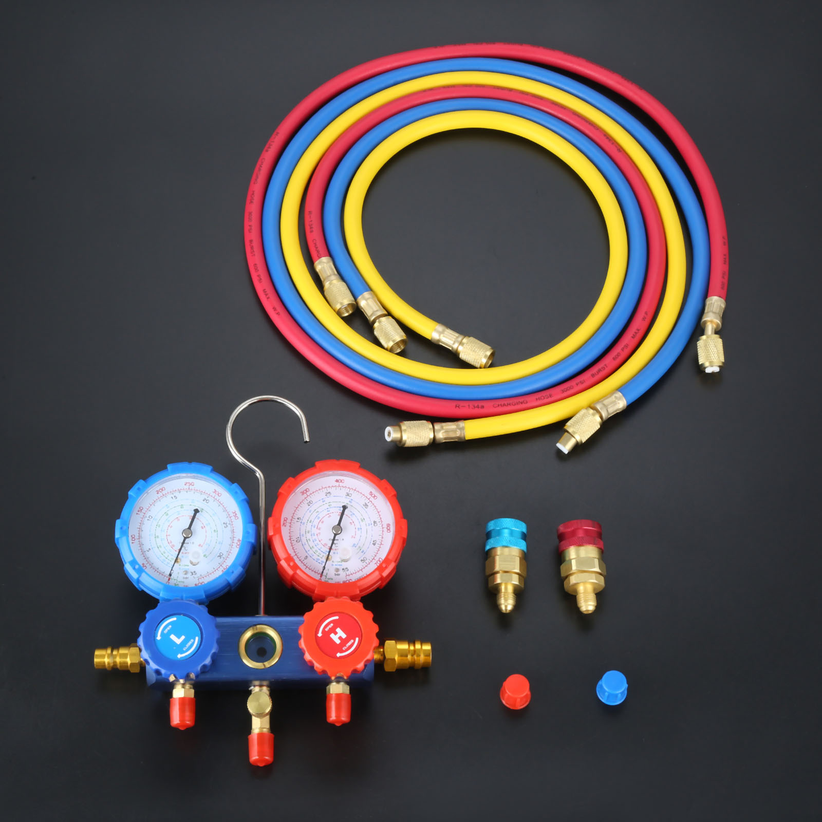 R134a R12 R22 R502 Manifold Gauge Set HVAC AC Refrigerant w/ 5ft Charging Hoses 36 Hoses R134 Quick Couplers+ACME Adapter 600Psi-in Air-conditioning Installation from Automobiles & Motorcycles
