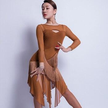 Female Latin Dance Long Sleeve Fringe Dress Women Adult Practice Costumes Latin Competition Stage Performance Clothing VO152
