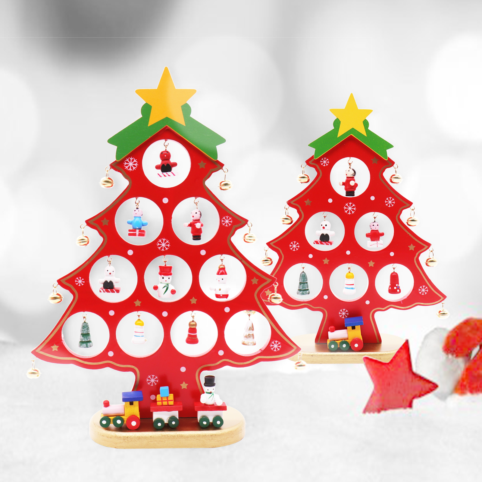 Us 8 99 70 Off Wooden Artificial Desk Christmas Tree For Home Xmas Decorations Ornaments Kids Mini Wood Tree Gift Cristmas Party Decoration On