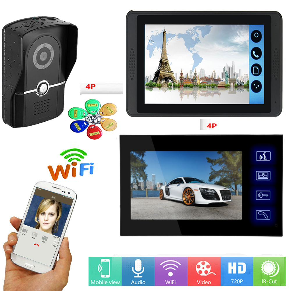 APP Control Video Door Intercom 7 Inch Monitor WIFI Wireless Video Door Phone Doorbell Camera RFID Access Unlock Intercom System