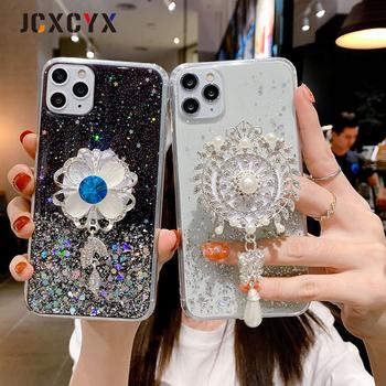 Brokat diament słońce kwiat czechy uchwyt stojak miękki futerał na telefon dla iphone 11 Pro Max X XS XR 6 7 8 plus dla samsung S8 S9 A50 S tanie i dobre opinie APPLE CN (pochodzenie) Częściowo przysłonięte etui ZDOBIONE